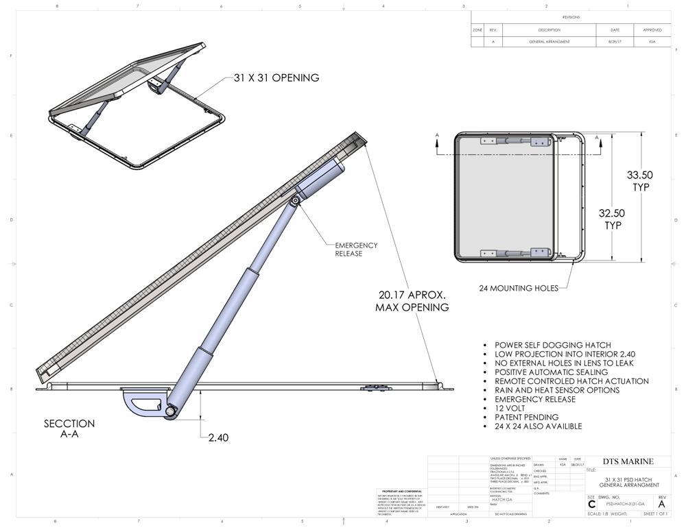 PSD Hatch 3131 GA Drawing DTS Marine